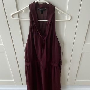 Burgundy chiffon office or cocktail dress